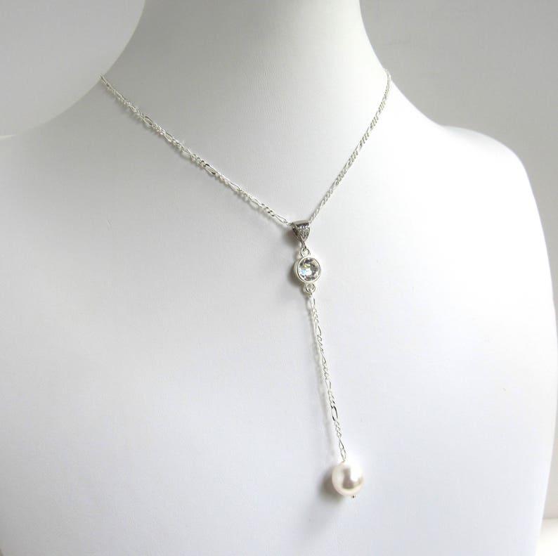 Y Drop Necklace Lariat Necklace Crystal with Pearl Drop Lariat Necklace Wedding Lariat Necklace Chain Y Necklace Silver Lariat Necklace