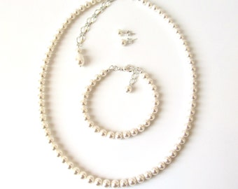 Pearl Jewelry Set, Bridesmaid Gift Jewelry, Bridesmaid Jewelry Set Pearl, WHITE OR IVORY Pearl, Bridesmaid Jewelry Pearl, Bridesmaid Set