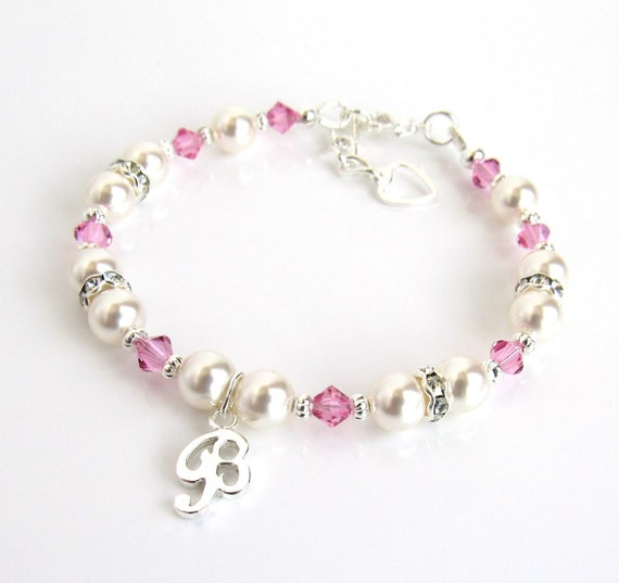 Girls Jewelry Personalized Birthstone Initial Charm Bracelet Sterling Silver Baby Bracelet Little Girl Gifts Childrens Jewelry Toddler Girl