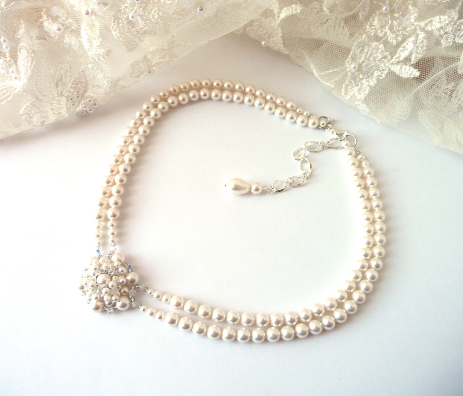 dd4eaaf9f957f Pearl Choker Necklace, Wedding Necklace, IVORY or WHITE Pearl Statement  Necklace, Bridal Necklace Pearl, Wedding Jewelry, Bridal Jewelry