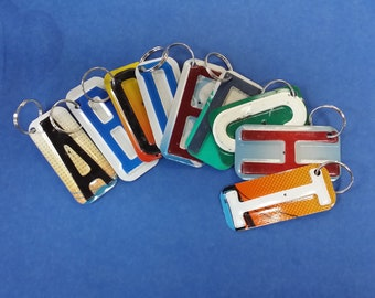 4bffca456 Key Rings, Key Chain made using recycled license plate letters and numbers