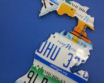 Shape of Michigan made using Authentic recycled license plates 21L x 20W