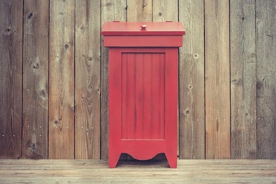 Country Wood Trash Bin Can Recycling Bin 13 Gallon Wood Kitchen Trash Can Wood Trash Bin