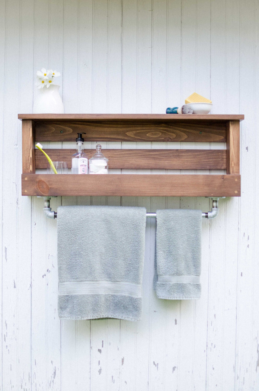 Manchester Rustic Farmhouse Industrial Bathroom Shelf with