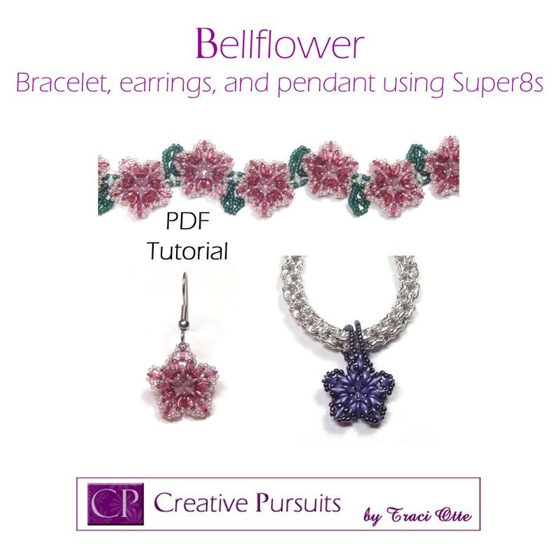 Bellflower PDF Tutorial flower technique using Super8 beads image 0