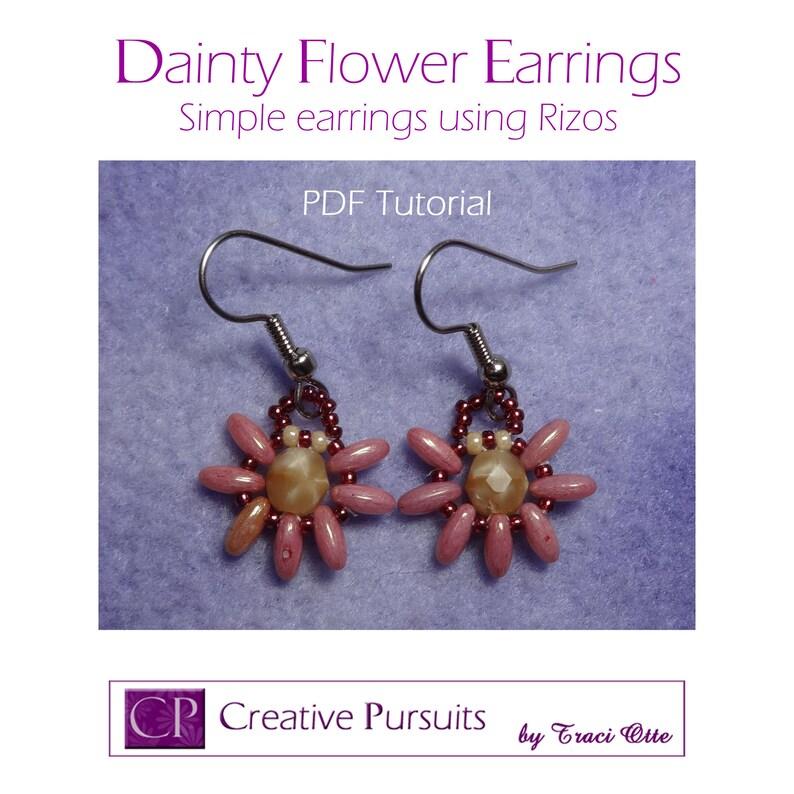 Dainty Flower Earrings PDF Tutorial RAW technique using image 0