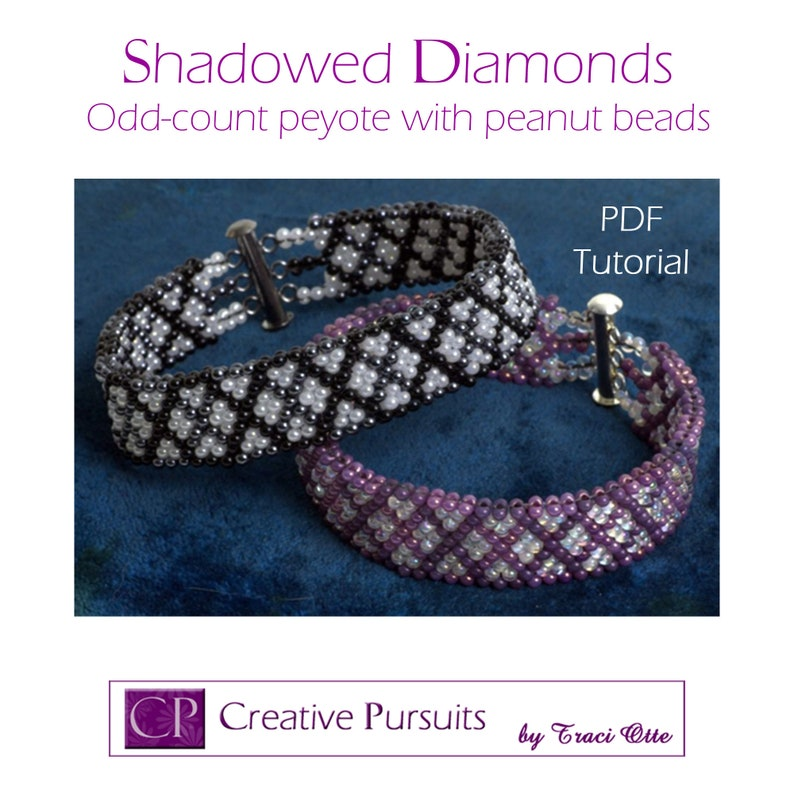 Shadowed Diamonds bracelet PDF tutorial odd count peyote with image 0
