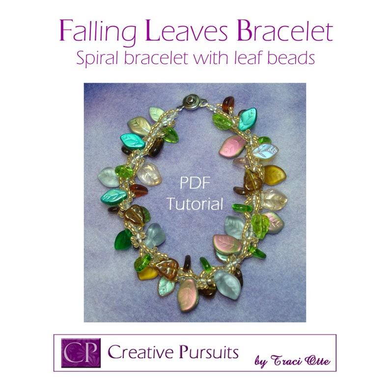 Falling Leaves bracelet PDF Tutorial spiral technique using image 0
