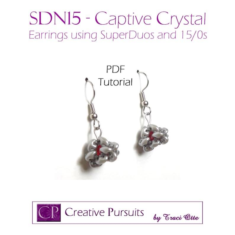SDN15  Captive Crystal earrings PDF Tutorial uses SuperDuos image 0