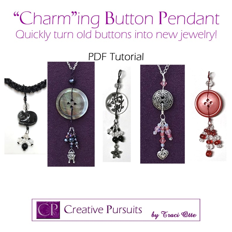 Charm-ing Button Pendant PDF instructions  quick to make fun image 0