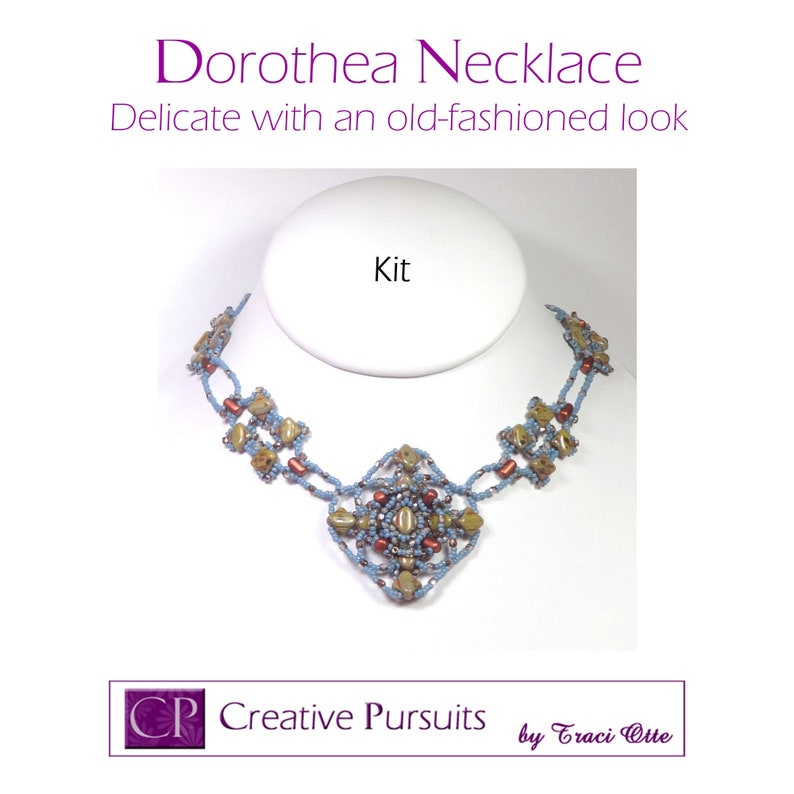 Dorothea necklace Kit and Tutorial delicate necklace using Avocado/Blue