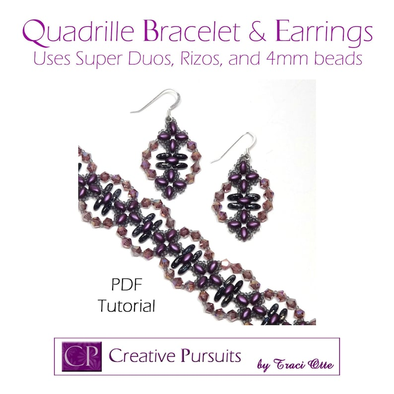Quadrille bracelet and earrings PDF Tutorial modified RAW image 0