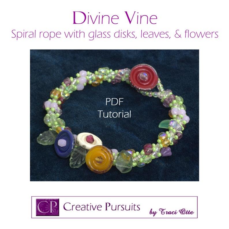 Divine Vine bracelet PDF tutorial spiral rope with glass image 0