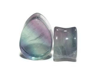 """Fluorite Teardrop Plugs 2g (6mm), 0g (8mm), 00g (9.5mm),  5/8"""" (16mm) 3/4"""" (19mm) 7/8 (22mm) 1"""" (25mm)"""