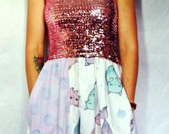 Strapless playsuit jumpsuit mermaid pink sequin dress maxi