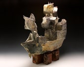 "Ceramic Ship, Ceramic Soda Fired Ship, Pottery Ship Sculpture, ""Shipwrecked"" by Adam Swang"