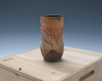 Ceramic Gold Pint Glass 080, Large Golden Pottery Cup, Tall Ceramic Tumbler