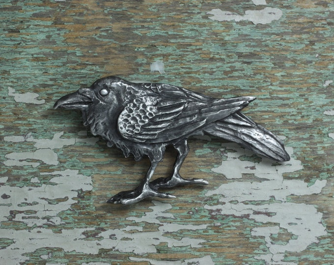 Featured listing image: Raven brooch - silver pewter