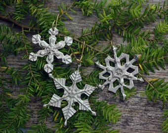 Snowflake ornaments in silver pewter set of three