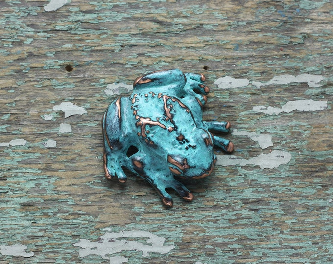 Featured listing image: Fat tree frog  brooch copper patina