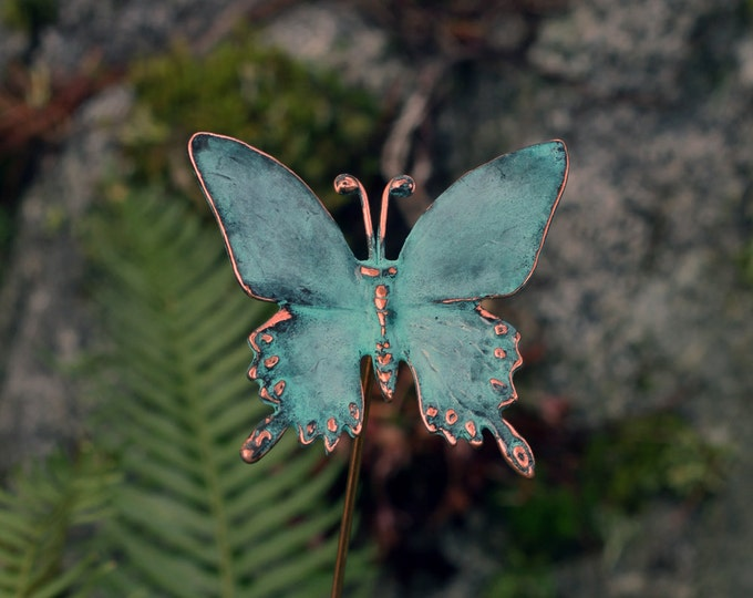 Featured listing image: Copper Patina Butterfly - garden stake
