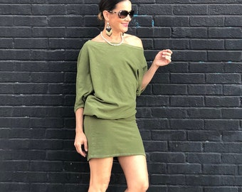 Slouch Dress in green hemp, dress, top, cover, workout, urban, casual, versatile