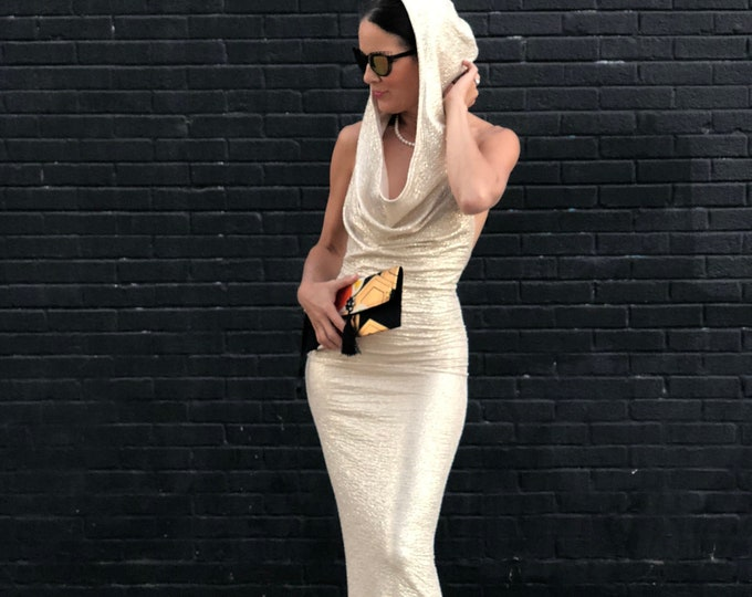 Featured listing image: Glamorous gold Skywalker hooded party dress