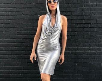 Glamorous Silver Skywalker hooded party dress