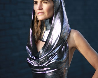 metallic foil spandex hooded dress in silver