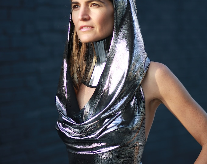 Featured listing image: metallic foil spandex hooded dress in silver