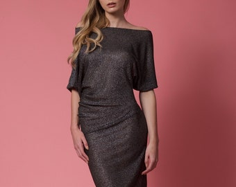 The Slouch Dress in gray black or purple knit