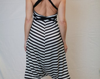 The Ninja Onesie Romper in Black + White stripes