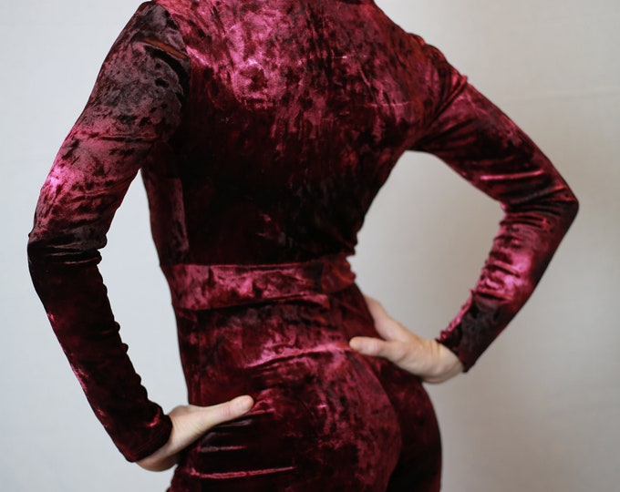 Featured listing image: Red crushed velvet jumpsuit