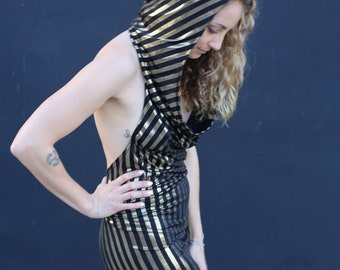 black and gold striped spandex dress