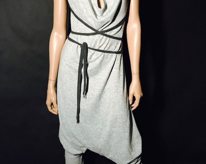 Featured listing image: The Ninja Onesie Romper in light gray knit