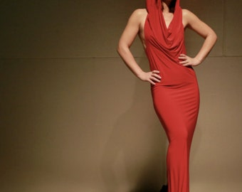 The Dutchess of Roma- smooth red  hooded dress