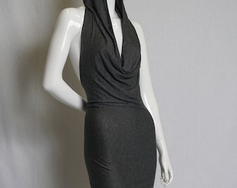 Backless hooded cowl mini dress in soft grey jersey
