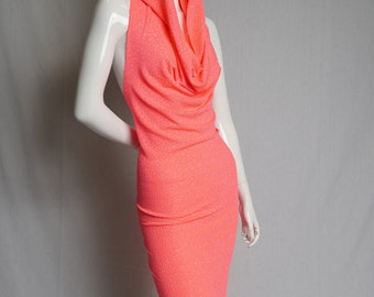 Hot Sparkle Coral Hooded Dress - festival, party, comfort