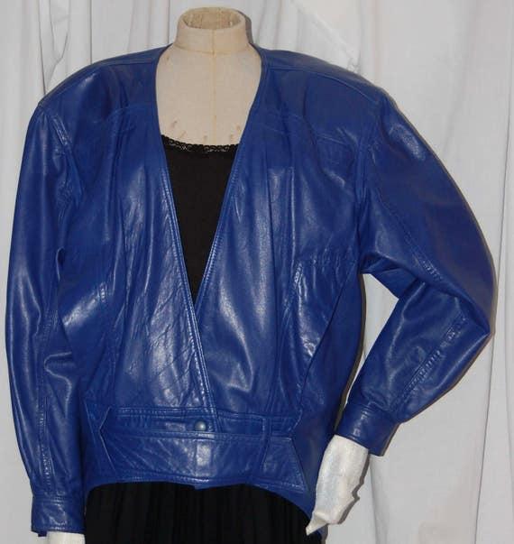 vintage 80s leather jacket, cobalt blue leather, b