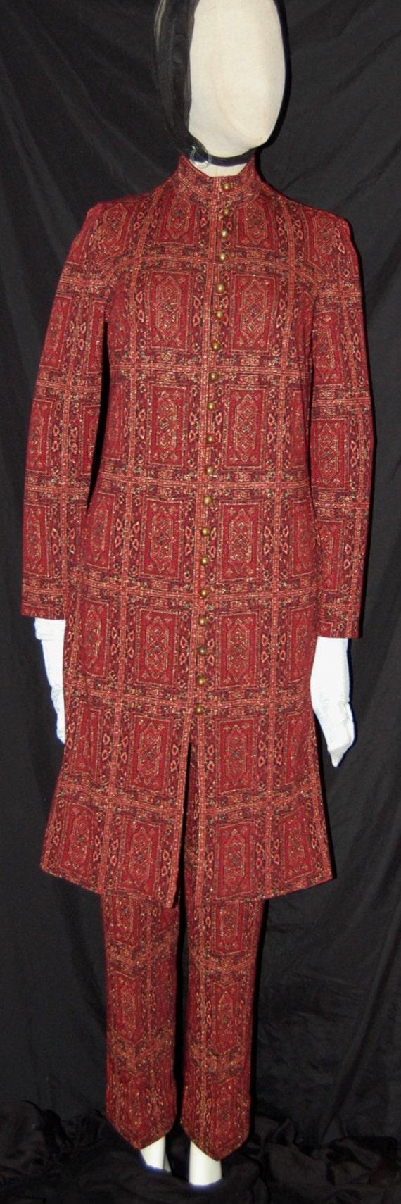 Vintage 60s festival pants set, carpet bag pattern