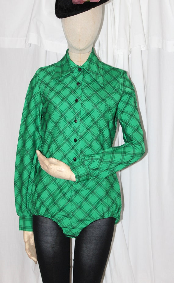 Vintage Christian Dior blouse bodysuit, green and