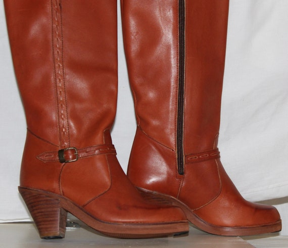 Vintage 80s leather boots, campus boots, knee high