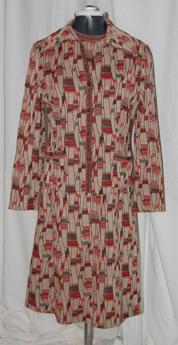 72b6ef17b Sale vintage knit dress and jacket 70s missoni-look multi