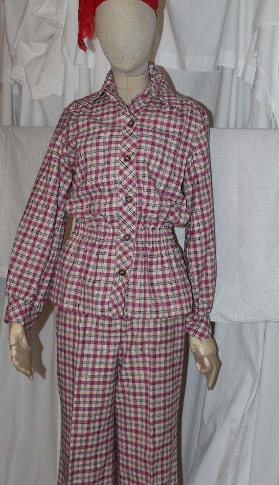 Vintage 60s 70s plaid pants suit pink cranberry of
