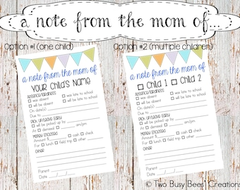 A Note from the Mom of: Printable