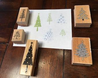 Christmas tree stamps - used - set of 5