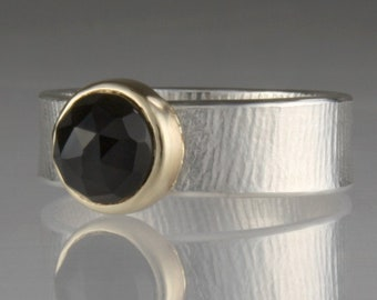 Onyx Ring, 14k Setting, Sterling, Textured Wide Band, Faceted Gemstone