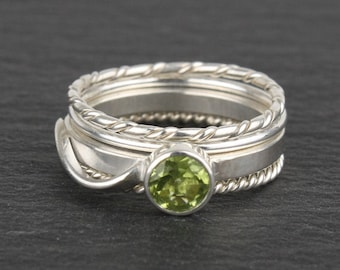 Stacking Rings with Peridot - Set of 4 (August Birthstone)