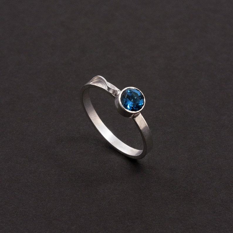 Stacking Ring  Blue Topaz December Birthstone image 0