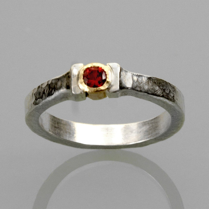 Rustic style Ruby ring with 14k gold setting image 0